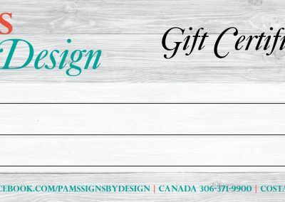 Signs By Designs - Gift Certificates