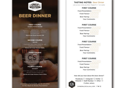 Cathedral Social Hall Beer Dinner Menu