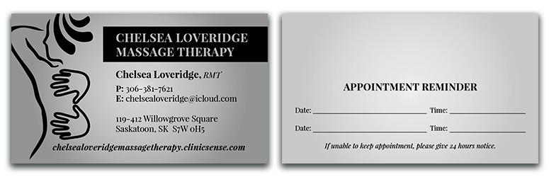 Chelsea Loveridge Massage - Business Cards