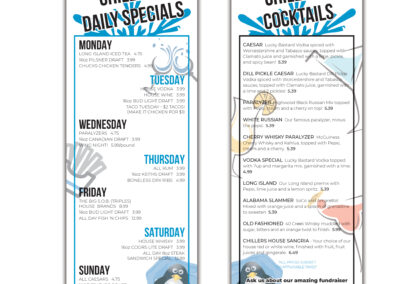 Chillers Pub - Daily Specials Menu