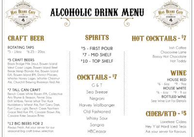 Has Beans Cafe - Drink Menu